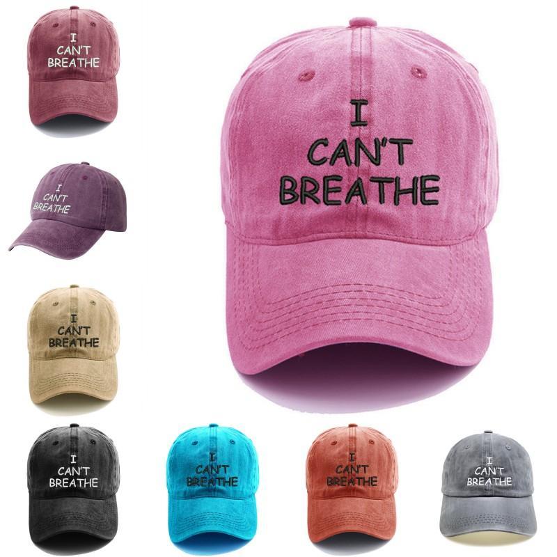 DHL Non riesco a respirare Baseball Cap donne Lettera Ricamato Stampato cotone lavato i cappelli registrabili di Snapback Cap Uomini Hip Hop Cappello H28A