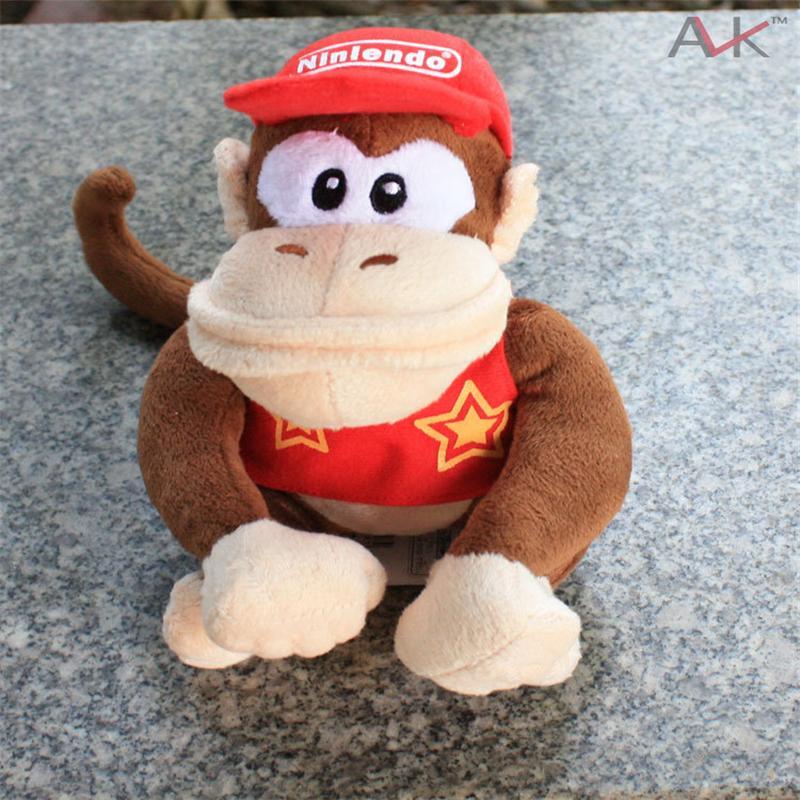 Filmes presentes 2Pcs / Set Super Mario Plush dos desenhos animados Bichos de pelúcia boneca macacos e Donkey Kong For Kids Melhor aniversário do Natal