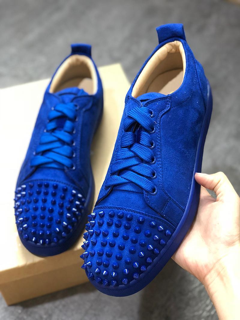 NOUVEAU 2020 Automne Designer Sneakers Bas Rouge chaussure Low Cut Suede spike Chaussures De Luxe Pour Hommes et Femmes Chaussures De Mariage cristal En Cuir Baskets