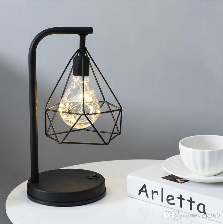 Arte de ferro retro minimalista oco diamante candeeiros de mesa lâmpada de leitura luz da noite quarto natal criativo feriado luzes de mesa
