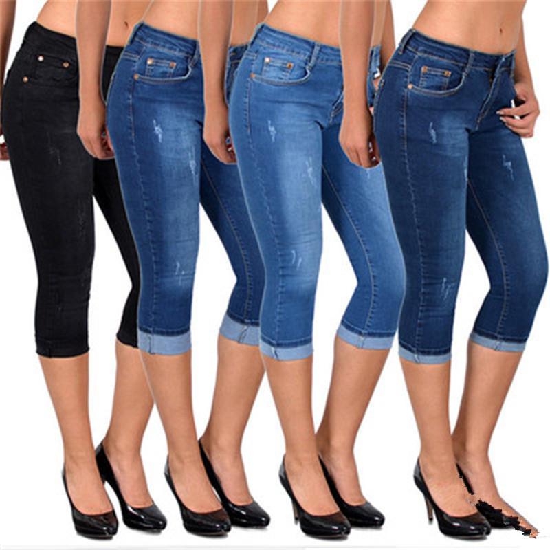 Дизайнер Тонкий Denim шорты лето Женщины высокой талии тощие джинсы до колен Длина отверстия Ripped Denim Capri Тонкий Streetwear Stretch повседневные брюки