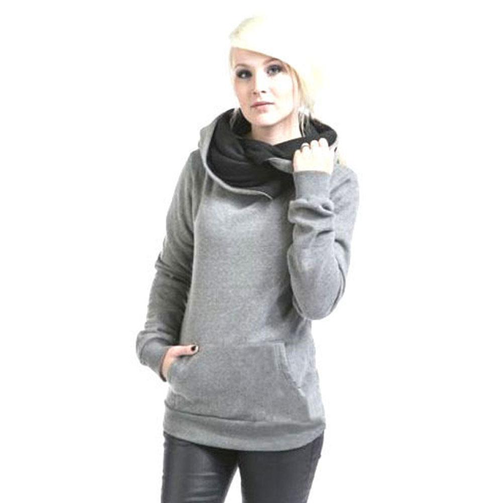 Femmes Casual solides manches longues Sweats à capuche turn-down col de coton Fashion Chic design Lapel à capuche overs # 2