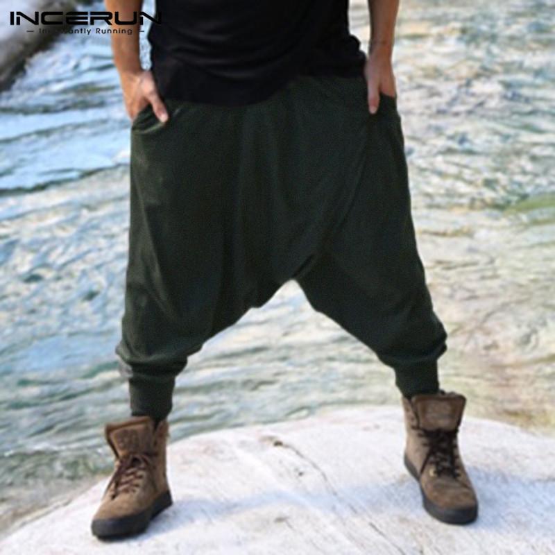 세련된 망 크로스 팬츠 남성 하렘 바지 Hiphop Baggy Ninja Pants 느슨한 휘트니스 낮은 드롭 가랑이 바지 Cool Punk Dance Pantalon