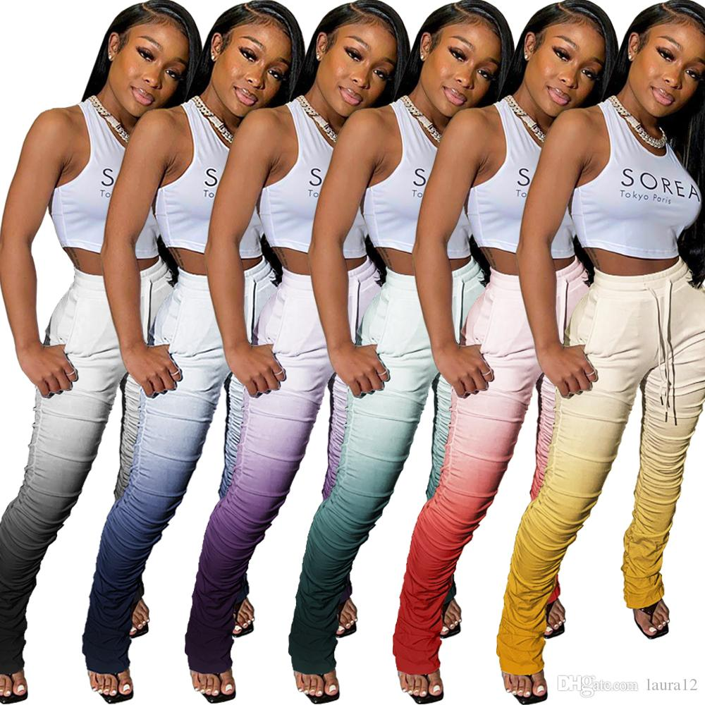 Colorful Gradient Printing Women Pants Fashionable Ruched Flare Casual Trousers for Sports Home All Matching Good Pants 2020 Newest