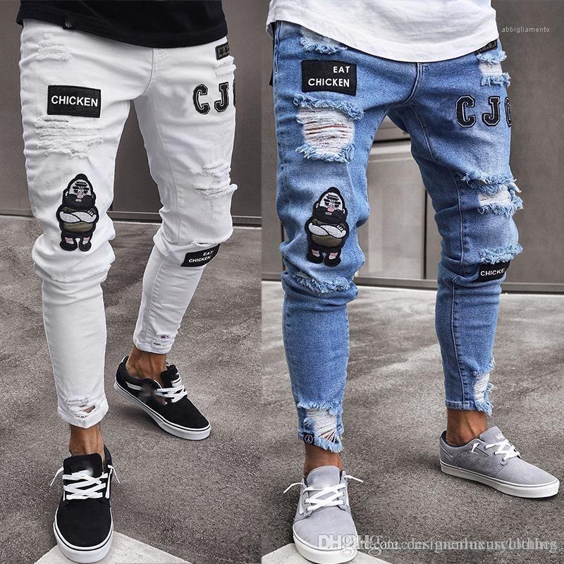 Fori Hiphop Jeans Per Abbigliamento Uomo drappeggiato distintivo Designer slim fit Jean pantaloni strappati