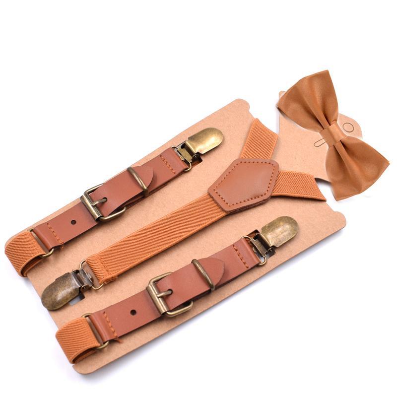 Bebek Braketler Çocuk Suspenders Papyon oğlan kızın askı Deri 3 Klipler Kayış Pantolon Suspensorio Elastik Kayış Setleri