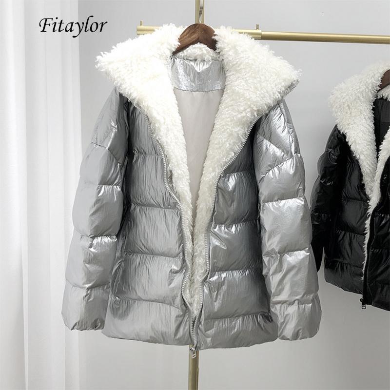 Invierno verdadera grande piel del cordero brillante chaqueta plateada abajo Mujeres Pato blanco collar de Down Parka de piel desmontable de Down Abrigo CJ1911109