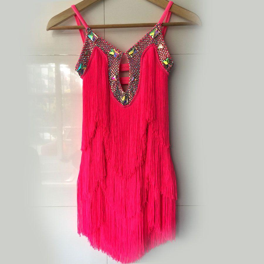 Kadınların yarışma elbiseler F75 için yeni stil latin dans kostüm seksi elmas püskül latin dans elbise S-4XL