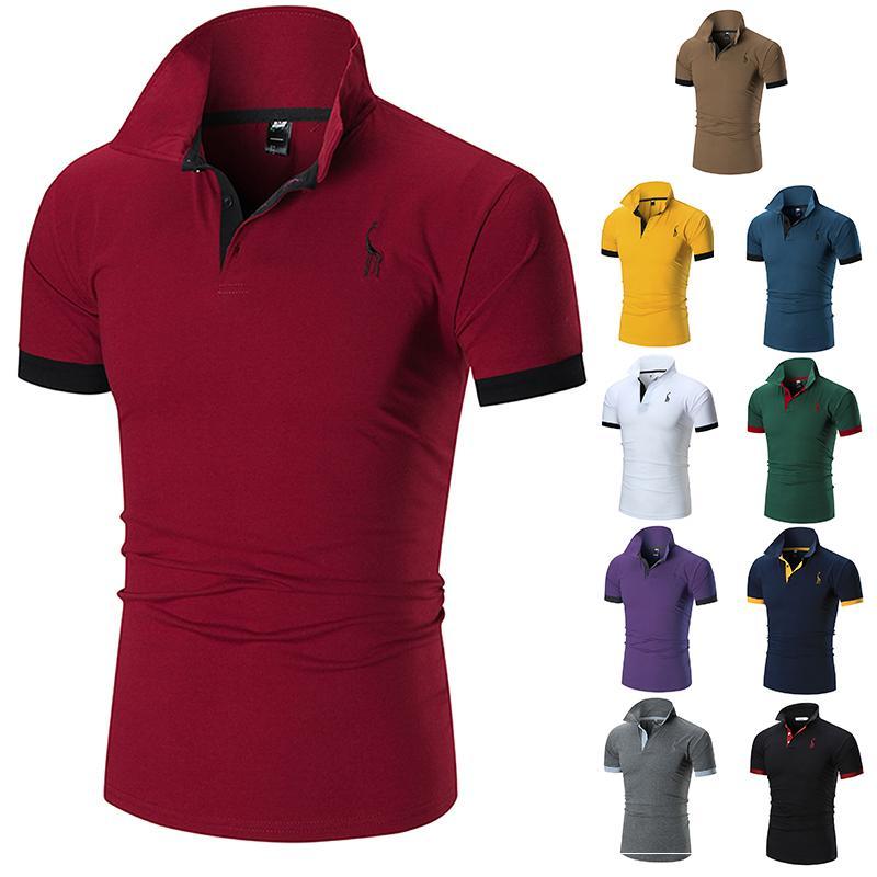 2020ss Polo Erkek Giyim Shirt Gömlek Erkekler Pamuk Blend Kısa Kollu Casual Nefes Yaz Nefes Katı Giyim Mor Boyut M-5XL