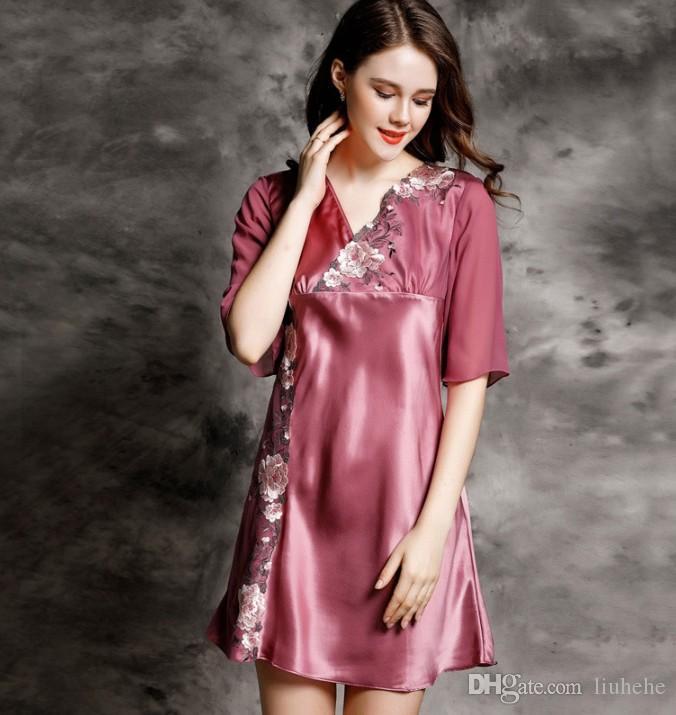 الجملة 100٪ مثير منامة الحرير المرأة الصيف الدانتيل المطرزة الحرير الربيع والخريف باس النوم