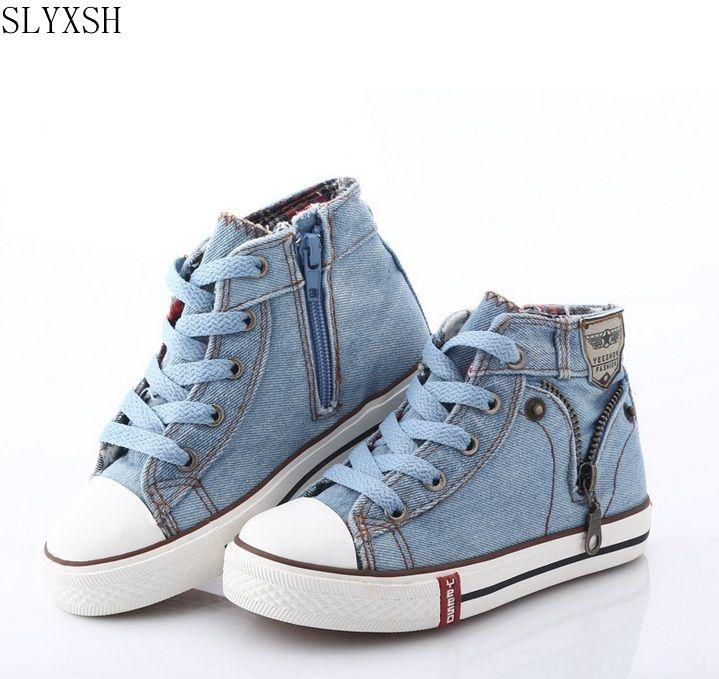SLYXSH 2020 Canvas Children Athletic & Outdoor Shoes Sport Breathable Boys Sneakers Brand Kids Shoes for Girls Jeans Denim Casual Child Flat