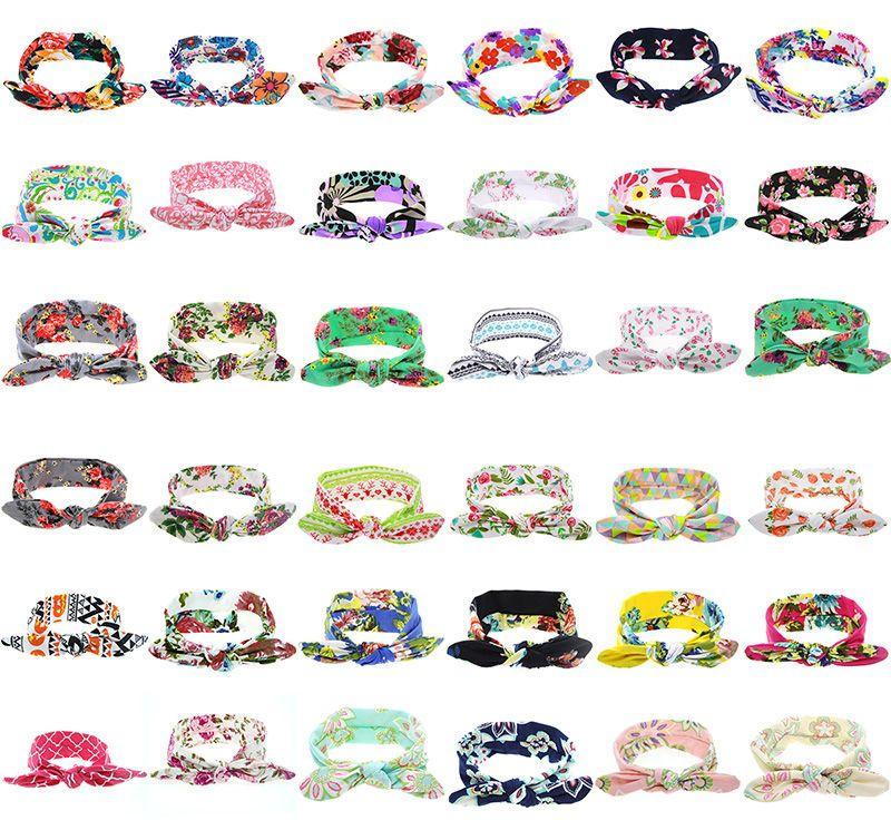 36 Цвета Детские ободки Цветок хлопка Bands девушки Тюрбан Twisted узел уха зайчика Цветочные Дети Детские аксессуары для волос плед головной убор M453