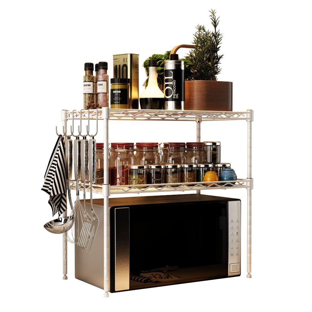 Metall Küche Storage Shelf 3-Tier Eisenrahmen Multifunktions-Mikrowelle Storage Rack + Haken Badezimmer Bücherregal