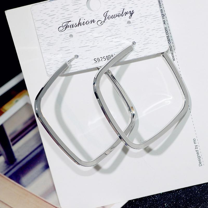 Contratto di orecchio anello quadrato esagerata grandi orecchini 925 aghi Fashion Girls ornano gli orecchini del cerchio Aros Mujer