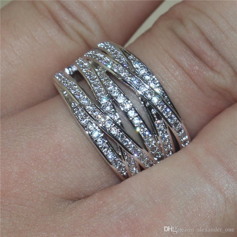Best4UU 2020 hochwertige 10KT Weißgold gefüllt Ringe mit Pflastern Simulierter Diamant Kompatibel für Pandora Ringe Männer-Europameisterschaft für Frauen Stil