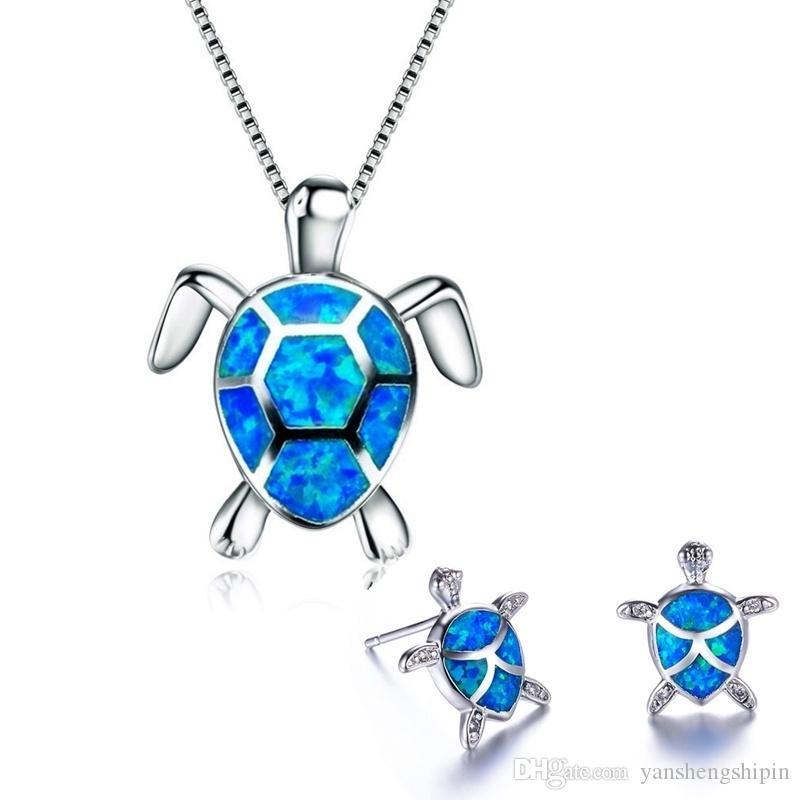 925 Gümüş Sevimli kaplumbağa kolye kolye Ve Küpe Mavi Ateş Opal Dolgulu Kadın Düğün Hayvan Takı Seti