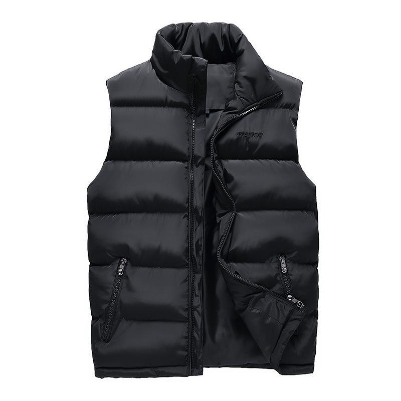 Hommes en noir Gilet 2019 Hiver Homme Gilet sans manches Slim Fit Veste Casual Homme Gilet Taille Plus L-4XL Drop Shipping