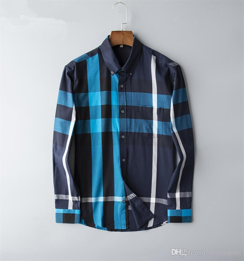 Brand Men's Business Casual shirt mens long sleeve striped slim fit camisa masculina social male T-shirts new fashion man checked shirt 07