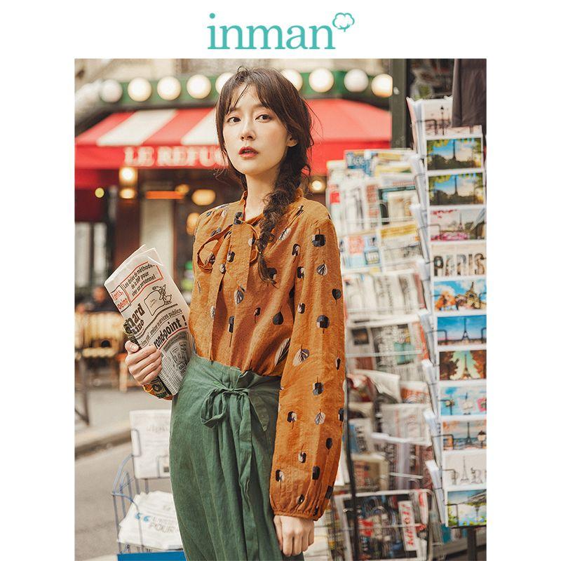 Инман весна осень вискоза хлопок мягкий принт красивая шнуровка Литературная элегантная женская блузка Verstand