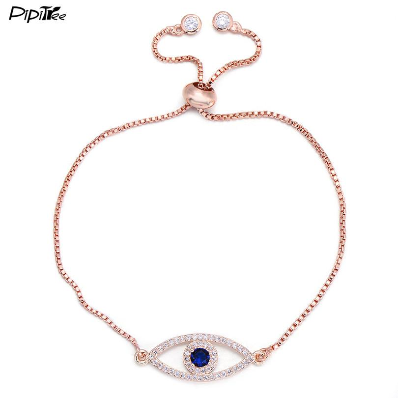 Pipitree Shiny Blue Zircon Evil Eye Charm Bracelet Femme Silver Gold Color Copper Chain Link Women Bracelets & Bangles Jewelry