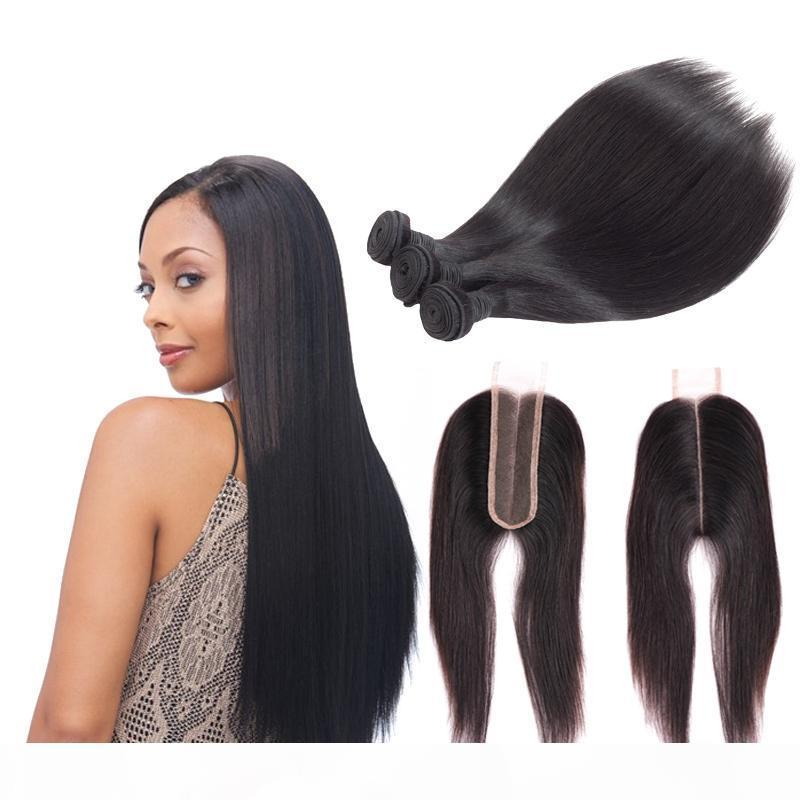 A Msjoli Brazilian Straight 2x6 Lace Closure With Bundles 100 %Human Hair Three Bundles With Closure 4pieces Bags