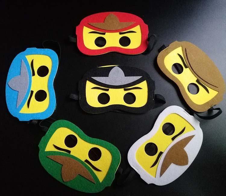 Yeni Tasarım özelleştirilebilir parti elbise için Ninjago maskeler Doğum günü partisi iyilik maskesi göz çocuklar Halloween iyi hediyeler maske Keçe