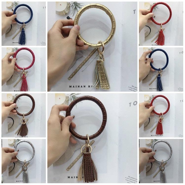 горячая 15style кисточкой браслеты для ключа круглый круг браслет искусственная кожа женщины браслет уникальные ювелирные изделия браслет держатель ключа T2C5203