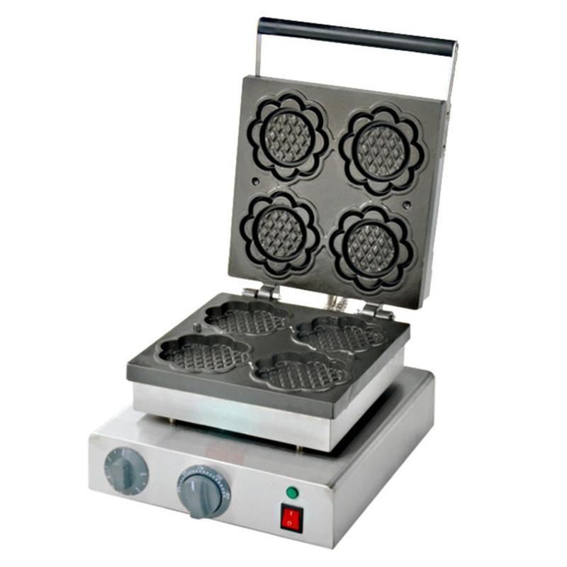 Uso doméstico comercial 220 V/110 V girasol Waffle Maker/4 unidades eléctrica forma especial Waffle máquina de alta eficiencia