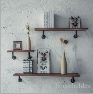 رف جداري الرجعية الصناعية الحديد الفن رفوف الكتب الزخرفية الجدار شنقا من كلمة واحدة الصلبة الخشب الجرف أصحاب التخزين
