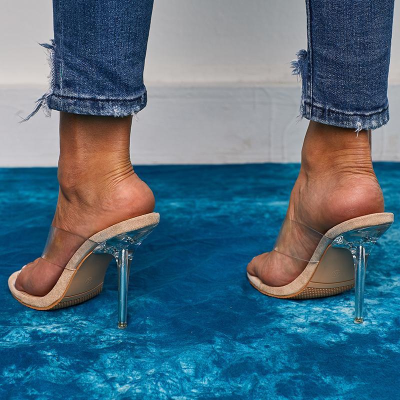 Kcenid 2020 moda verão PVC transparente aleta falhanço de aleta verde serpentina sensuais saltos altos partido cristal chinelos sapatos tamanho 42