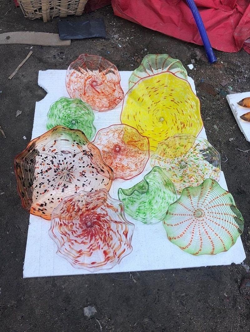 Placas Murano decorativa Handmade de vidro Handmade Blown Placas de parede de vidro borosilicato Blown placas de parede Art Glass