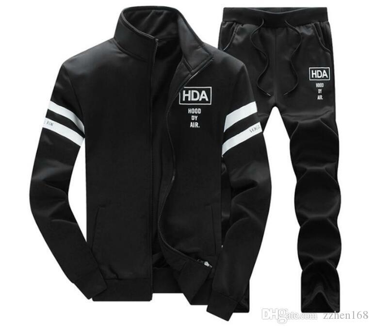Mens di lusso Tuta Zip di Sportwear 2 piece set maniche lunghe giacche casual con pantaloni casual Jogger Homme tute
