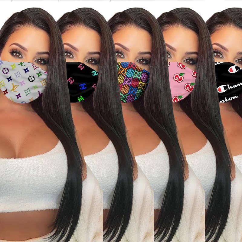 Commercio all'ingrosso 7 marca di stile unisex maschere viso lavabile traspirante designer di lusso maschera alla moda stampa riutilizzabile antivento anti-polvere maschere per ciclismo