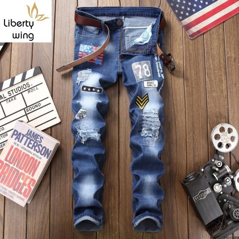 Estate elastico sfilacciati slim fit jeans skinny pants Diritto di stile punk stampare i campioni casuali di grande formato Mens Denim Pantaloni