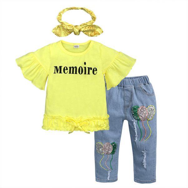 2020 filles Ensemble vêtements Mode manches Enfants été Tendance Flare T-shirts + Pantalons + Accessoires cheveux Trois Set Pieces Filles T-shirts occasionnels