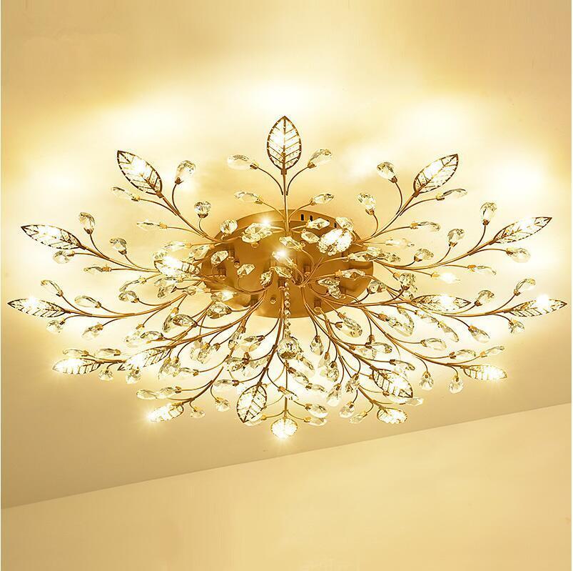 Luxo Europa candelabro de cristal lâmpada do teto Ouro / Preto Led Lustres Para Quarto G4 Lustres Luminárias Lamp Loft Luster
