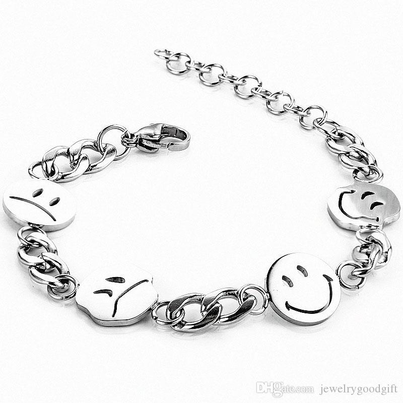 Tide Marca Expressão Smiley Pulseiras presente por atacado de jóias pulseiras Homens Mulheres Hip Hop Hiphop Titanium Steel Mão Jóias presente