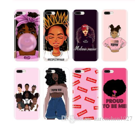 2bunz Melanin Poppin Aba Case For iPhone 12 11 Pro X XS XR Max 6 7 8 Plus Fashion Black Girl Designer Soft TPU Phone Cases for Samsung S20