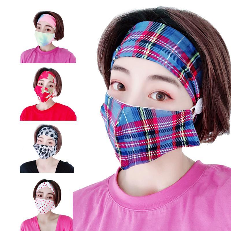 moda esportiva respirável europeus e americanos hairband retro treliça botão impresso cabeça cabeça máscara de duas peças