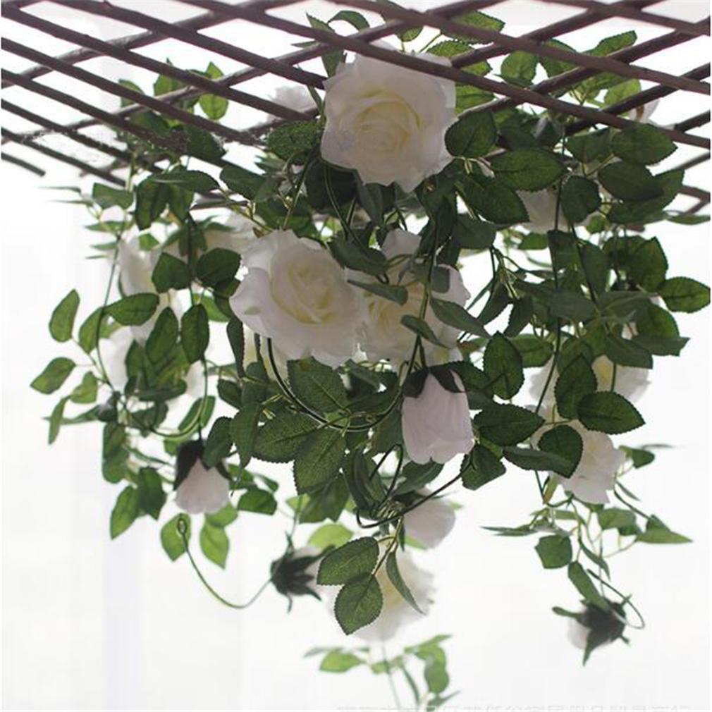 Artificial Rose Ivy Vines With Green Leaves Silk Fake Rose Garland Hanging Basket Vine Diy Hanging Garland Flowers Wall Decor