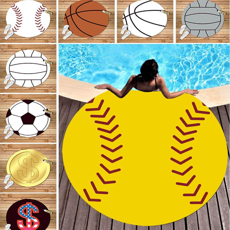 150CM البيسبول البيسبول شاطئ منشفة ستوكات شاطئ نزهة بطانية الرياضة اليوغا حصيرة شاطئ الغلاف التفاف 9 نمط XD20895