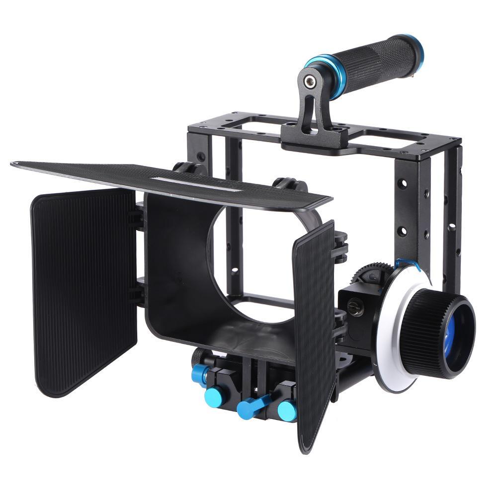 Freeshippng DSLR Filme de vídeo Fazendo kit com câmara CAGE Top Handle Grip 15mm Set Matte Box Siga o foco para câmeras de câmeras DSLR