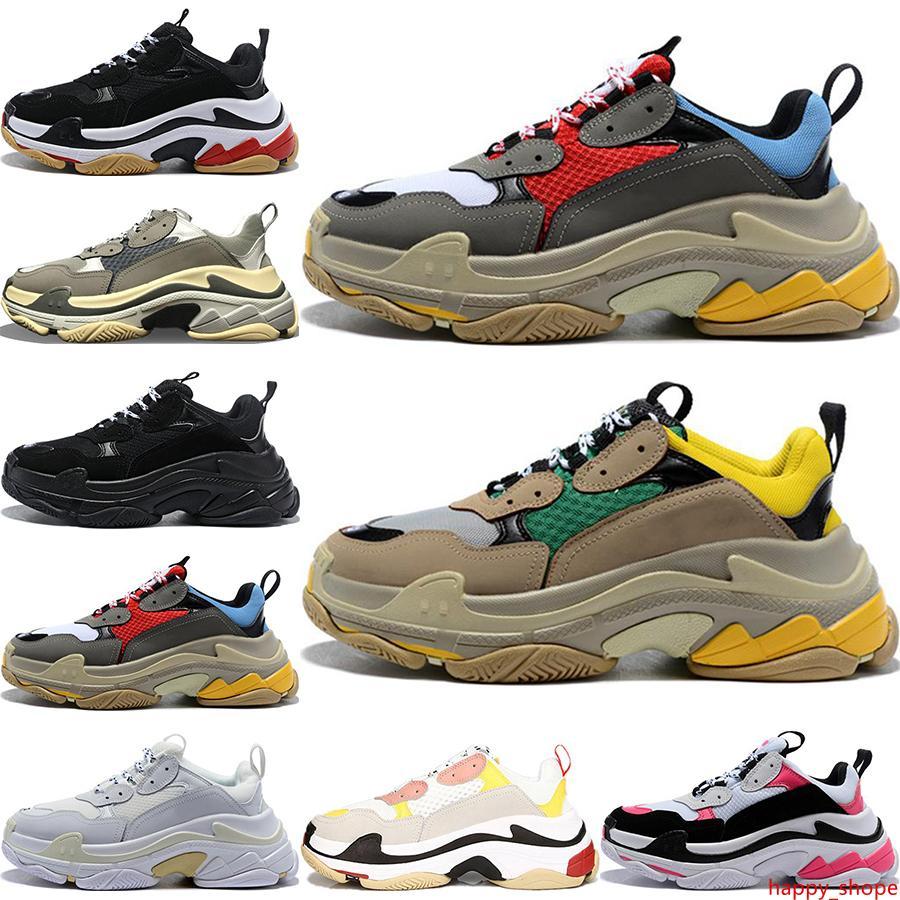 2020 Moda Paris 17FW Triple-S Sneakers Üçlü Erkekler Kadınlar Bej Siyah Ceahp Spor Tasarımcı Ayakkabı Spor ayakkabı 36-45 Gündelik baba Ayakkabı S