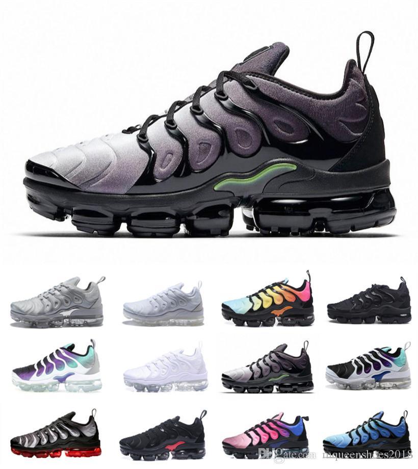 TN Plus Athletic Airbag Sole 2018 Hombres Mujeres Diseñador Zapatillas En Metallic Outdoor West Boost Fashion Gradient Colorways Sport Sneakers