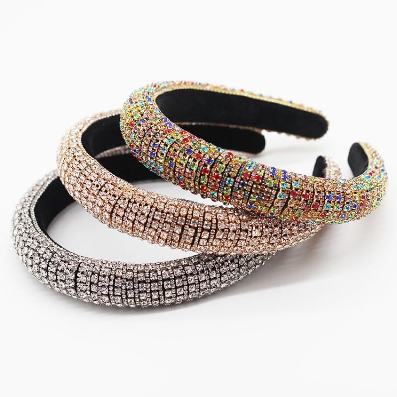 Barock volle Kristallstirnband-Haar-Bänder für Frauen-Dame Shiny Padded Diamant-Stirnband-Haar-Band-Mode-Partei-Schmuckzubehör