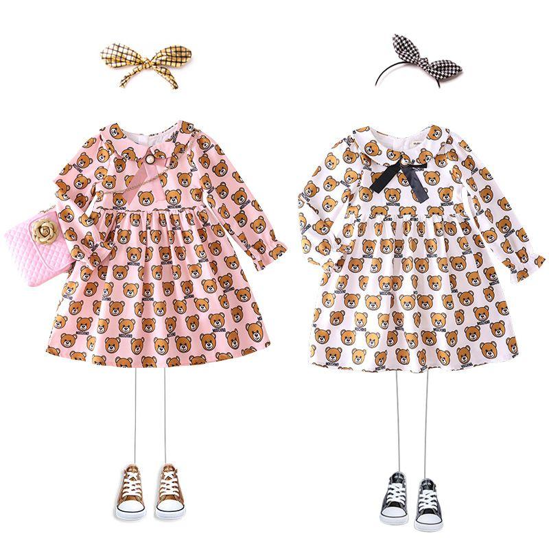 Retail baby girl dresses lapel doll bear printed ruffle princess dresses for kids designer clothes girls Dress children boutique clothing