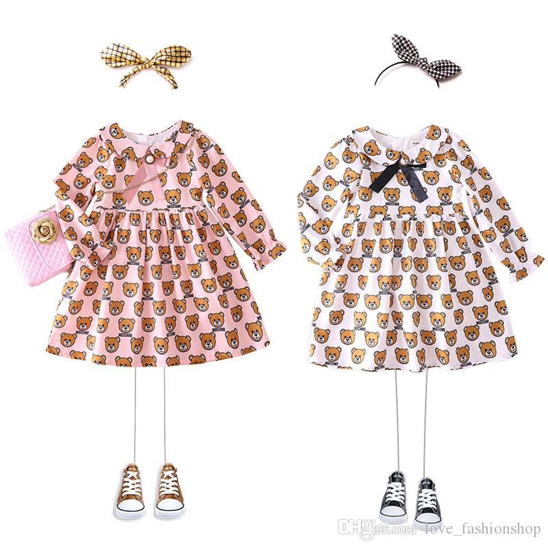 robes bébé détail fille poupée ours imprimé boutonnière robes de princesse pour les enfants volants vêtements de créateurs filles robe enfants boutique de vêtements