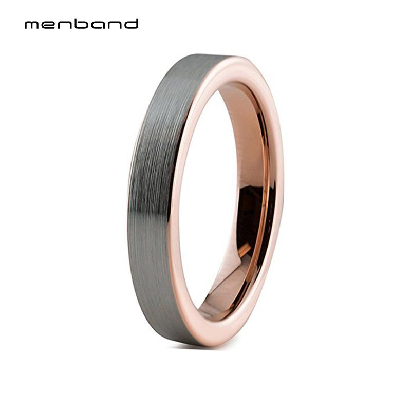 4mm Womens Rose Gold Tungsten Carbide Rings Flat Wedding Bands Brushed Finish Comfort Fit