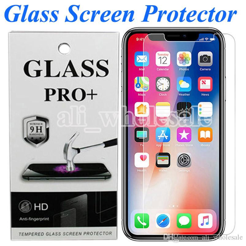 HD Clear Tempered Glass Screen Protector Bubble Free Anti Scratch for iPhone XR 11 Pro Max X XS 8 Plus 7 6 6s Plus Moto G7 G6 Pixel 4 XL
