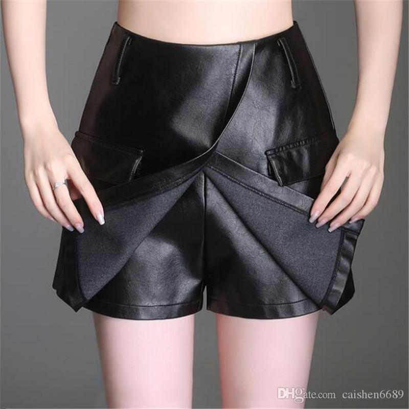 black PU leather shorts women high waist skirts 2019 autumn winter new loose A-line skirt wide leg shorts leather pants